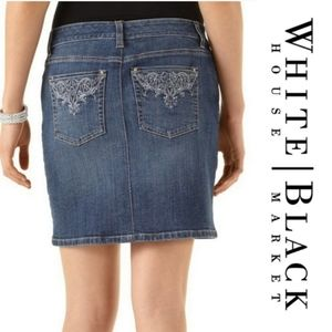 #61 White House Black Market Jean Skirt Small 6